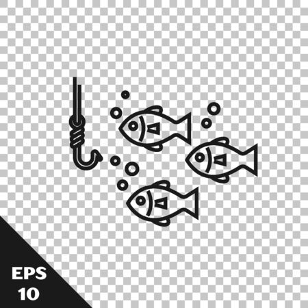 Black line Fishing hook under water with fish icon isolated on transparent background. Fishing tackle. Vector Illustration Archivio Fotografico - 128934795