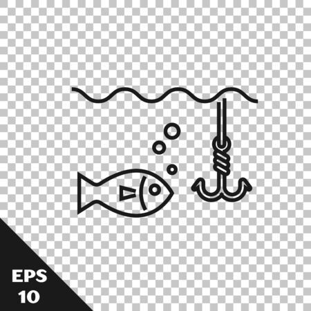 Black line Fishing hook under water with fish icon isolated on transparent background. Fishing tackle. Vector Illustration Archivio Fotografico - 128934827