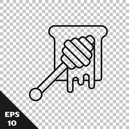 Black line Honey dipper stick with dripping honey icon isolated on transparent background. Honey ladle. Vector Illustration