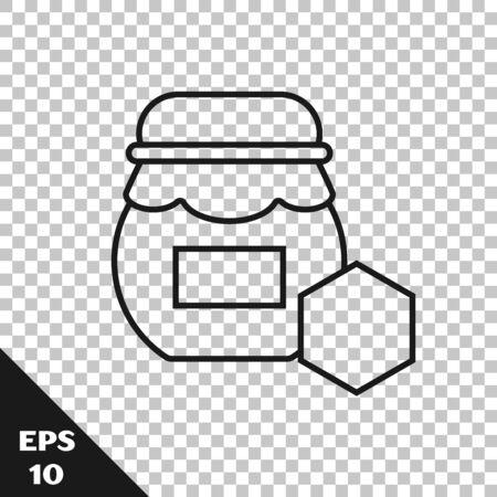 Black line Jar of honey icon isolated on transparent background. Food bank. Sweet natural food symbol. Vector Illustration  イラスト・ベクター素材