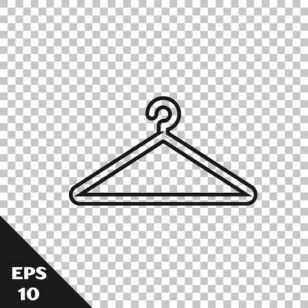 Black line Hanger wardrobe icon isolated on transparent background. Cloakroom icon. Clothes service symbol. Laundry hanger sign. Vector Illustration Stock Illustratie