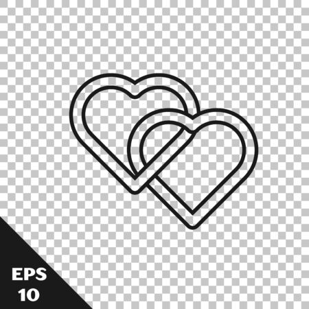 Black line Two Linked Hearts icon isolated on transparent background. Romantic symbol linked, join, passion and wedding. Valentine day symbol. Vector Illustration