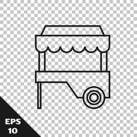Black line Fast street food cart with awning icon isolated on transparent background. Urban kiosk. Vector Illustration Stock Vector - 128713678
