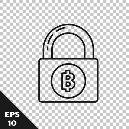 Black line Lock with bitcoin icon isolated on transparent background. Cryptocurrency mining, blockchain technology, security, protect, digital money. Vector Illustration