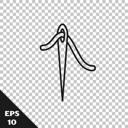 Black line Needle for sewing with thread icon isolated on transparent background. Tailor symbol. Textile sew up craft sign. Embroidery tool. Vector Illustration