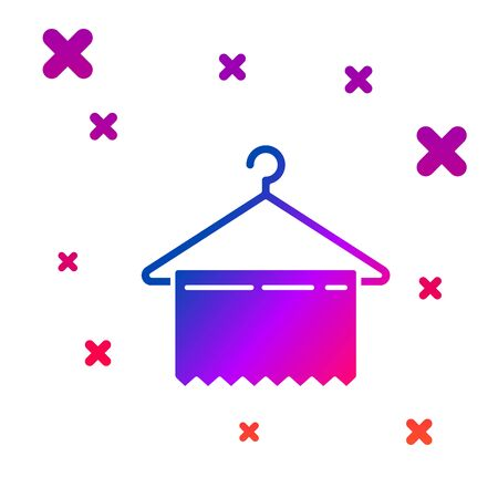Color Hanger wardrobe icon isolated on white background. Clean towel sign. Cloakroom icon. Clothes service symbol. Laundry hanger sign. Gradient random dynamic shapes. Vector Illustration