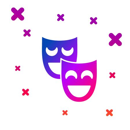 Color Comedy theatrical masks icon isolated on white background. Gradient random dynamic shapes. Vector Illustration