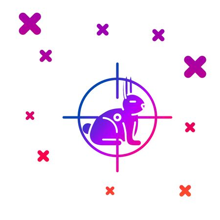 Color Hunt on rabbit with crosshairs icon isolated on white background. Hunting club   with rabbit and target. Rifle lens aiming a hare. Gradient random dynamic shapes. Vector Illustration
