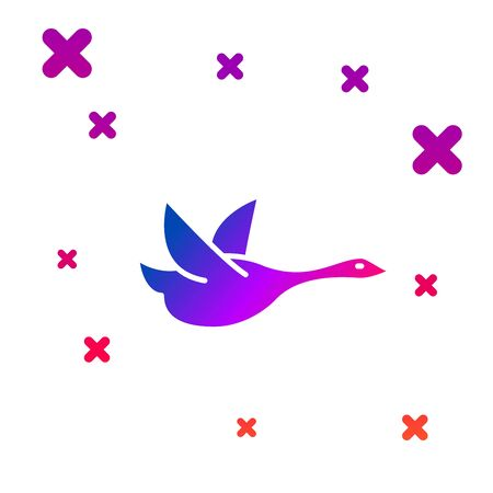 Color Flying duck icon isolated on white background. Gradient random dynamic shapes. Vector Illustration Banque d'images - 128935101
