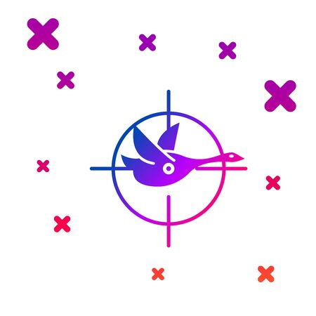 Color Hunt on duck with crosshairs icon isolated on white background. Hunting club   with duck and target. Rifle lens aiming a duck. Gradient random dynamic shapes. Vector Illustration