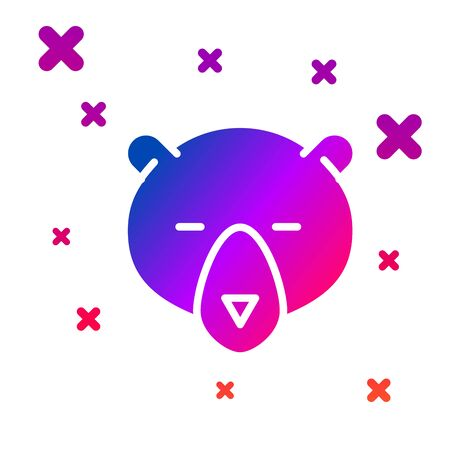 Color Bear head icon isolated on white background. Gradient random dynamic shapes. Vector Illustration Illustration