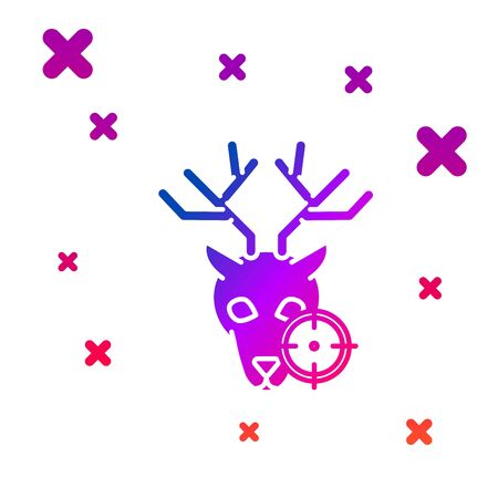 Color Hunt on deer with crosshairs icon isolated on white background. Hunting club   with deer and target. Rifle lens aiming a deer. Gradient random dynamic shapes. Vector Illustration Illustration