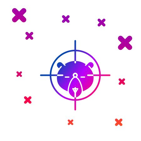Color Hunt on bear with crosshairs icon isolated on white background. Hunting club with bear and target. Rifle lens aiming a bear. Gradient random dynamic shapes. Vector Illustration Illustration