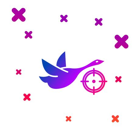 Color Hunt on duck with crosshairs icon isolated on white background. Hunting club with duck and target. Rifle lens aiming a duck. Gradient random dynamic shapes. Vector Illustration  イラスト・ベクター素材