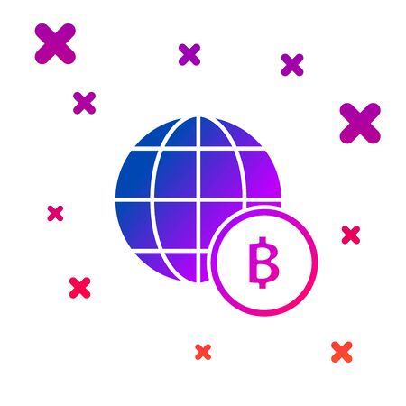 Color Globe and cryptocurrency coin Bitcoin icon isolated on white background. Physical bit coin. Blockchain based secure crypto currency. Gradient random dynamic shapes. Vector Illustration