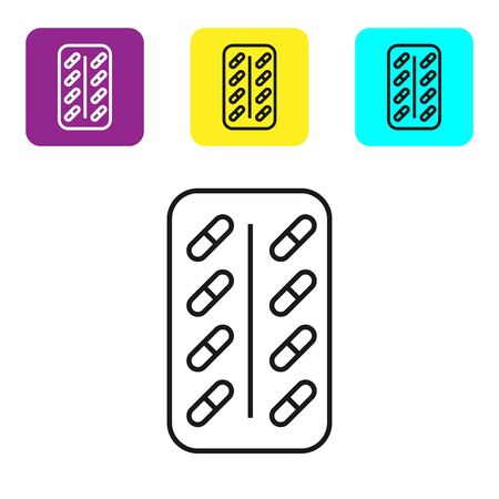 Black line Pills in blister pack icon isolated on white background. Medical drug package for tablet vitamin, antibiotic, aspirin. Set icons colorful square buttons. Vector Illustration Illustration