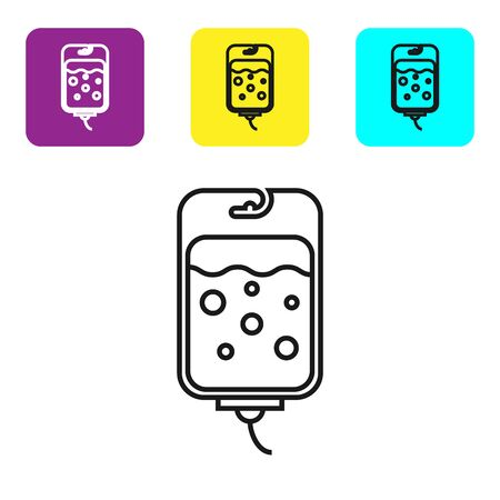 Black line IV bag icon isolated on white background. Blood bag icon. Donate blood concept. The concept of treatment and therapy, chemotherapy. Set icons colorful square buttons. Vector Illustration Illustration
