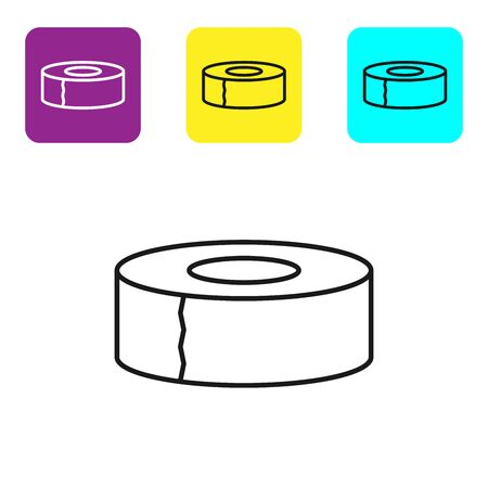 Black line Scotch icon isolated on white background. Roll of adhesive tape for work and repair. Sticky packing tape. Office tool and stuff. Set icons colorful square buttons. Vector Illustration