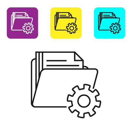 Black line Folder settings with gears icon isolated on white background. Software update, transfer protocol, teamwork tool management. Set icons colorful square buttons. Vector Illustration Standard-Bild - 128811701