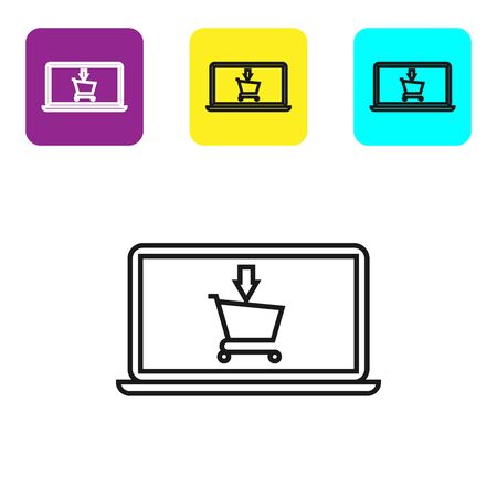 Black line Shopping cart on screen laptop icon isolated on white background. Concept e-commerce, e-business, online business marketing. Set icons colorful square buttons. Vector Illustration Ilustração
