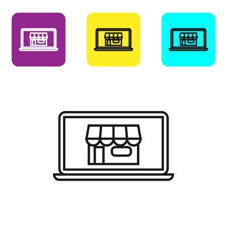 Black line Shopping building on screen laptop icon isolated on white background. Concept e-commerce, e-business, online business marketing. Set icons colorful square buttons. Vector Illustration Ilustração