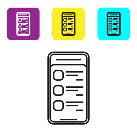 Black line Online shopping on mobile phone icon on white background. Online buying. Internet shop, mobile store app and payments billing. Set icons colorful square buttons. Vector Illustration