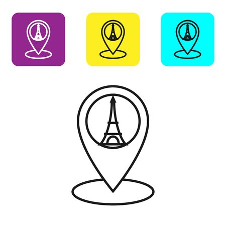 Black line Map pointer with Eiffel tower icon isolated on white background. France Paris landmark symbol. Set icons colorful square buttons. Vector Illustration