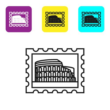 Black line Postal stamp and Coliseum icon isolated on white background. Colosseum sign. Symbol of Ancient Rome, gladiator fights. Set icons colorful square buttons. Vector Illustration