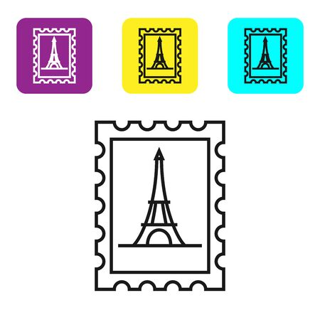 Black line Postal stamp and Eiffel tower icon isolated on white background. Set icons colorful square buttons. Vector Illustration