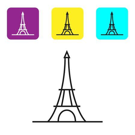 Black line Eiffel tower icon isolated on white background. France Paris landmark symbol. Set icons colorful square buttons. Vector Illustration Ilustracja