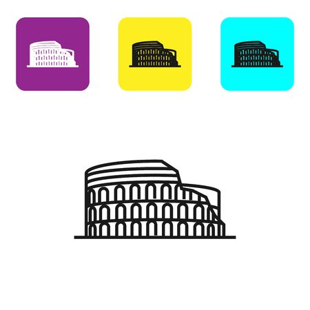 Black line Coliseum in Rome, Italy icon isolated on white background. Colosseum sign. Symbol of Ancient Rome, gladiator fights. Set icons colorful square buttons. Vector Illustration Illustration