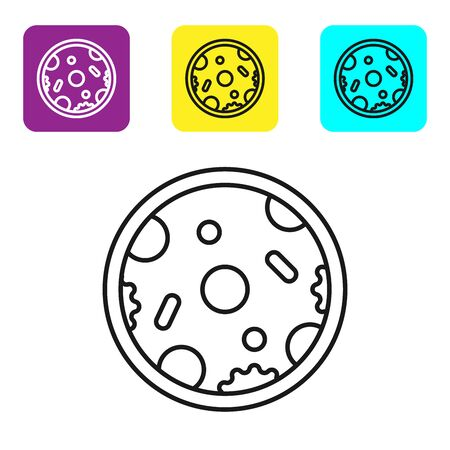 Black line Pizza icon isolated on white background. Fast food menu. Set icons colorful square buttons. Vector Illustration