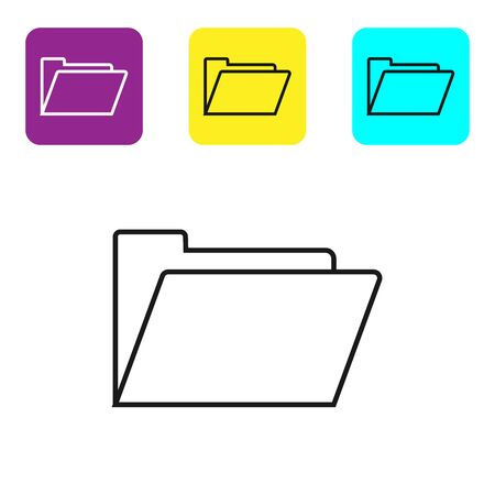 Black line Document folder icon isolated on white background. Accounting binder symbol. Bookkeeping management. Set icons colorful square buttons. Vector Illustration Illustration