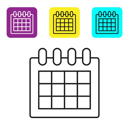 Black line Calendar icon isolated on white background. Event reminder symbol. Set icons colorful square buttons. Vector Illustration Standard-Bild - 128820170