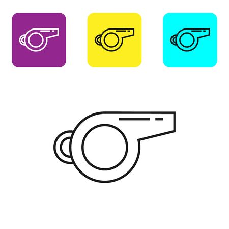 Black line Whistle icon isolated on white background. Referee symbol. Fitness and sport sign. Set icons colorful square buttons. Vector Illustration Ilustração