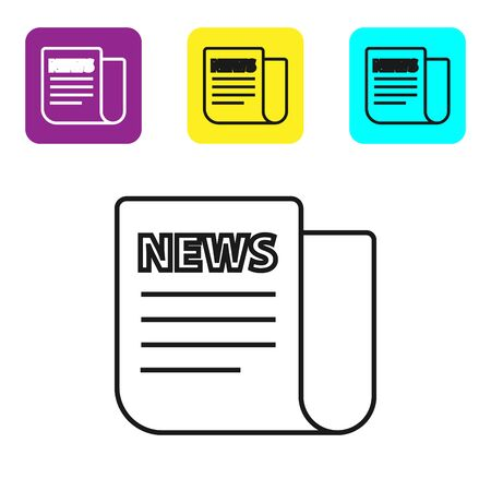 Black line News icon isolated on white background. Newspaper sign. Mass media symbol. Set icons colorful square buttons. Vector Illustration Иллюстрация