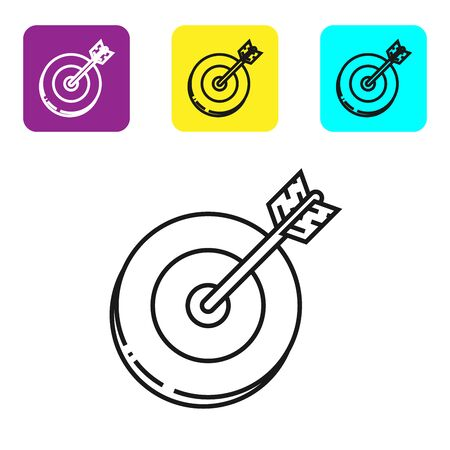 Black line Target icon isolated on white background. Investment target icon. Successful business concept. Cash or Money sign. Set icons colorful square buttons. Vector Illustration Banco de Imagens - 128819065