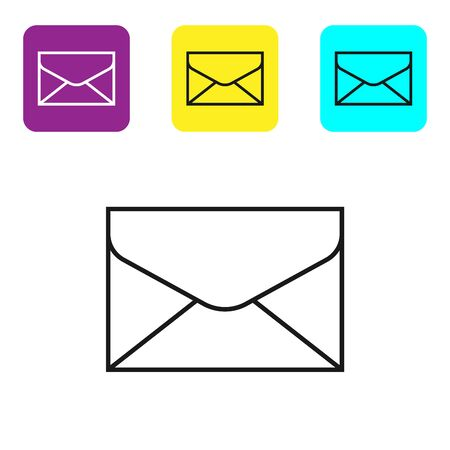 Black line Envelope icon isolated on white background. Email message letter symbol. Set icons colorful square buttons. Vector Illustration
