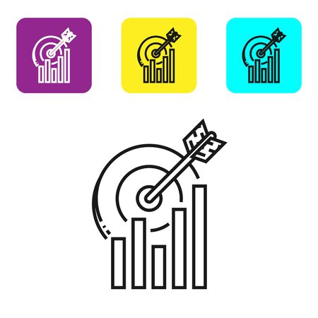 Black line Target with graph chart icon isolated on white background. Report text file icon. Accounting sign. Audit, analysis, planning. Set icons colorful square buttons. Vector Illustration