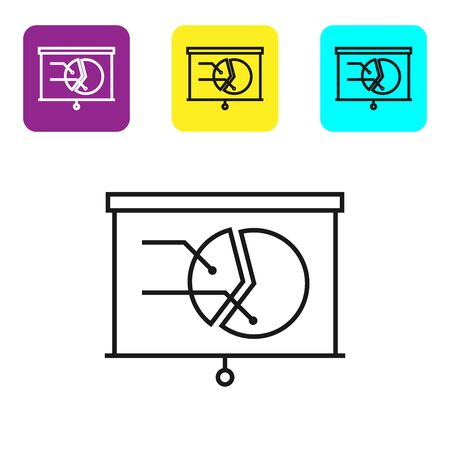 Black line Board with graph chart icon isolated on white background. Report text file icon. Accounting sign. Audit, analysis, planning. Set icons colorful square buttons. Vector Illustration
