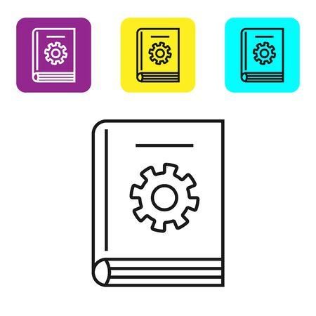 Schwarze Linie Benutzerhandbuch Symbol isoliert auf weißem Hintergrund. Handbuch für Benutzer. Hinweisschild. Vor Benutzung lesen. Stellen Sie Ikonen bunte quadratische Knöpfe ein. Vektorillustration Vektorgrafik