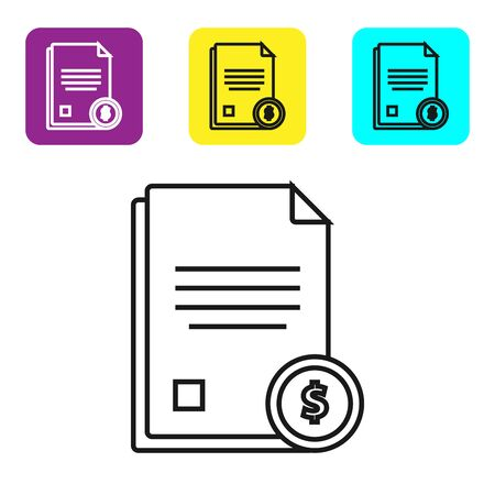 Black line Finance document icon isolated on white background. Paper bank document with dollar coin for invoice or bill concept. Set icons colorful square buttons. Vector Illustration Stock Illustratie