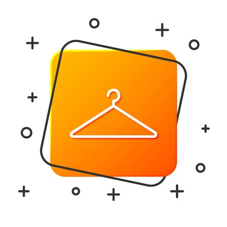 White Hanger wardrobe icon isolated on white background. Cloakroom icon. Clothes service symbol. Laundry hanger sign. Orange square button. Vector Illustration