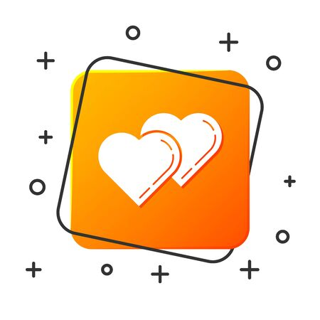 White Two Linked Hearts icon isolated on white background. Romantic symbol linked, join, passion and wedding. Valentine day symbol. Orange square button. Vector Illustration Ilustração