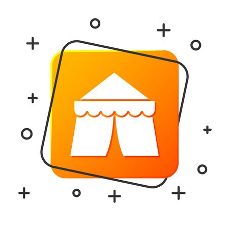 White Circus tent icon isolated on white background. Carnival camping tent. Amusement park. Orange square button. Vector Illustration Ilustração