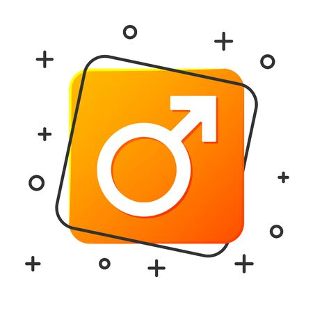 White Male gender symbol icon isolated on white background. Orange square button. Vector Illustration Standard-Bild - 129044624