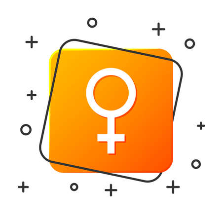 White Female gender symbol icon isolated on white background. Venus symbol. The symbol for a female organism or woman. Orange square button. Vector Illustration Standard-Bild - 129044630