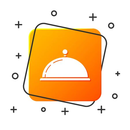 White Covered with a tray of food icon isolated on white background. Tray and lid sign. Restaurant cloche with lid. kitchenware symbol. Orange square button. Vector Illustration