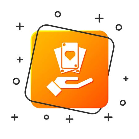 White Hand holding playing cards icon isolated on white background. Casino game design. Orange square button. Vector Illustration 일러스트