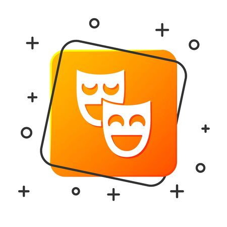 White Comedy theatrical masks icon isolated on white background. Orange square button. Vector Illustration